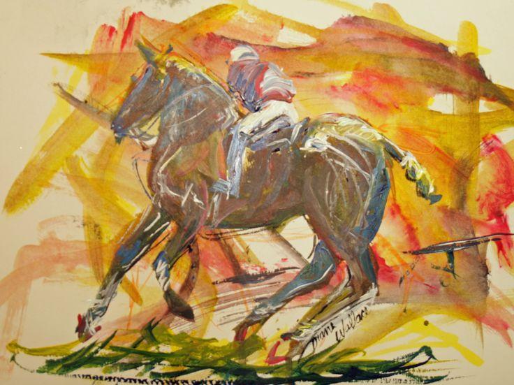 "Side Shot - Acrylic 10"" x 8 1/2"" $100, Polo, polo player, polo pony, horse, horses,"