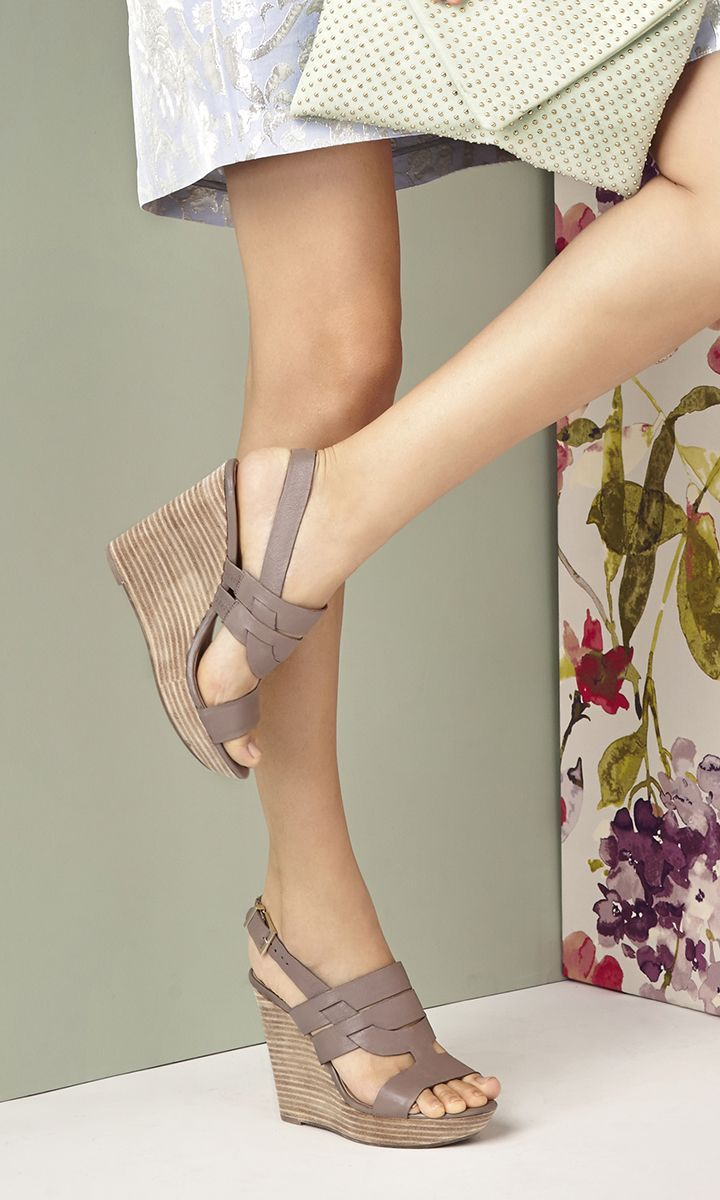 Taupe leather platform wedges with comfortable stacked heels   Sole Society Jenny