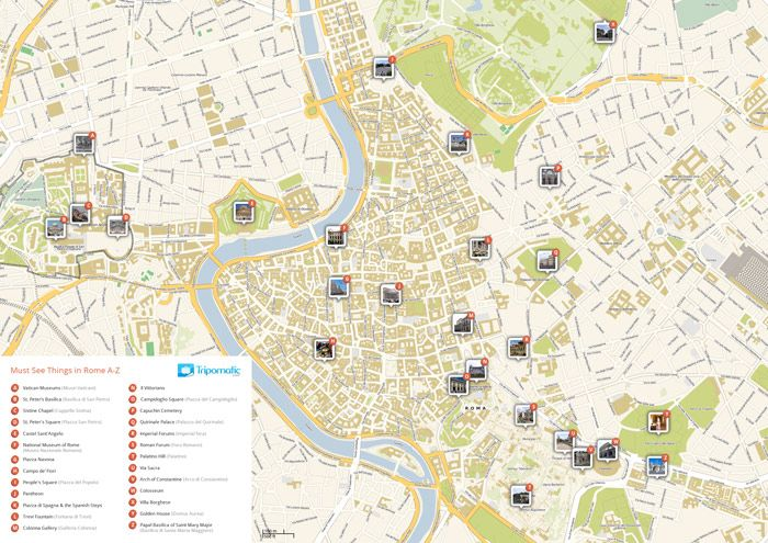 Locate the best Rome attractions using this free map. Easy to print out.