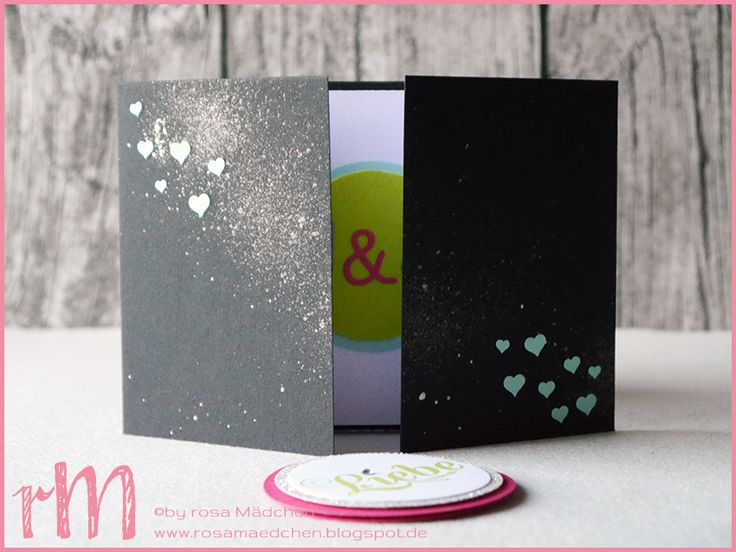 Stampin' Up! rosa Mädchen Kulmbach: Hochzeitskarte mit Fahnengruß, Für viele Anlässe, Herzkonfetti, Beeindruckende Buchstaben, Wink of Stella und Kreisstanzen