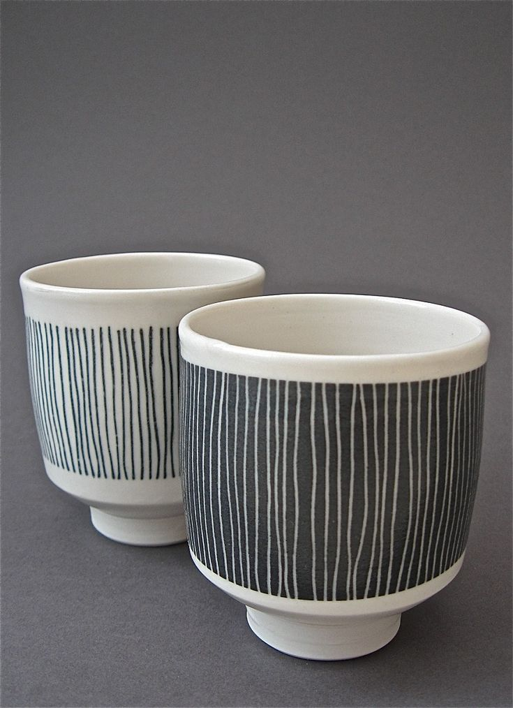 black and white striped tea bowl - gorgeous shape, though may not be too stable??