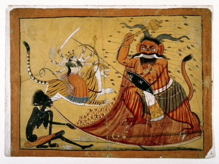 Durga Slaying the Buffalo Demon, Raktabij, and Kali Lapping up the Demon's Blood, Page from a Markandeya Purana Series Culture: Indian Medium: Opaque watercolor on paper Place Made: Chamba, Punjab Hills, India Dates: 1800-1825 Brooklyn Museum