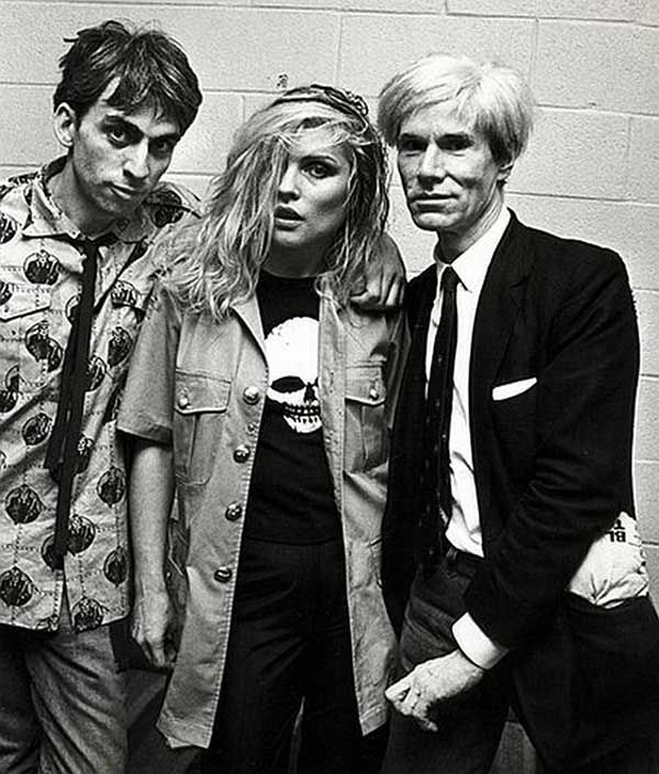 Chris Stein, Debbie Harry and Andy Warhol. Celebrities