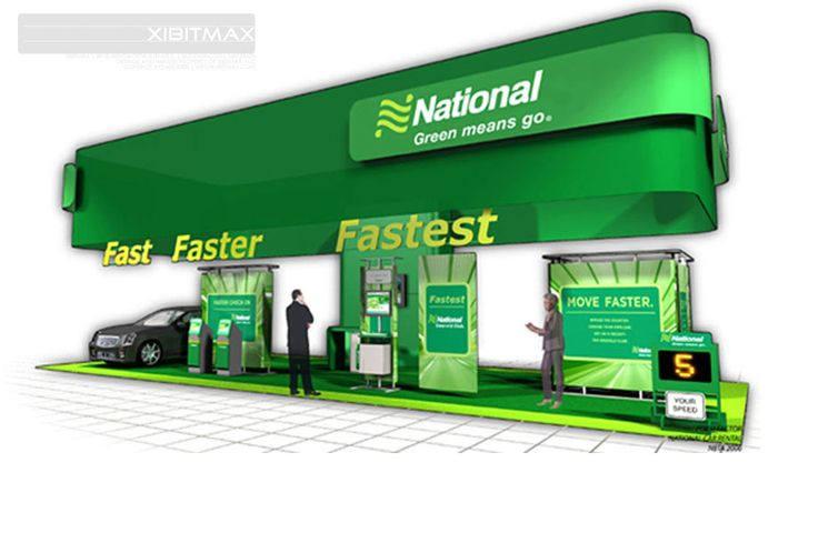 National Car - 20x50 Custom Trade Show Display- Check EXHIBITMAX Custom Exhibits, if your needs require a custom designed and built trade show booth
