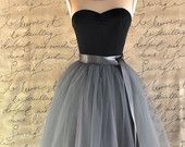 Charcoal grey tulle tutu skirt for women--lined in silver satin with charcoal satin waist sash.
