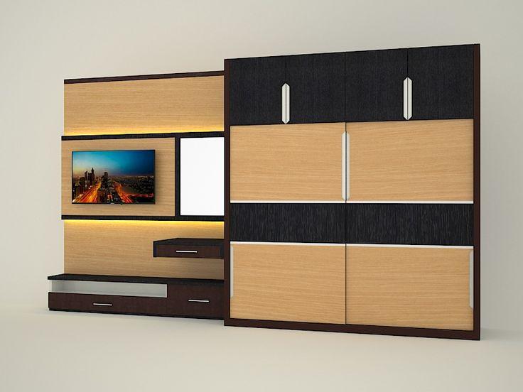 desain dan pembuatan lemari pakaian dua pintu dan backdrop tv kamar