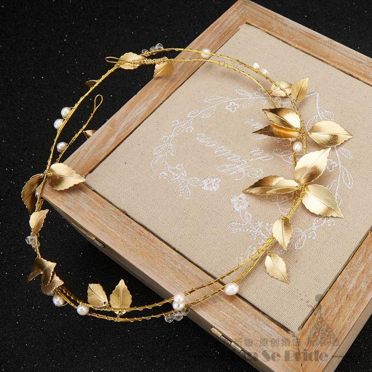 Великолепный позолоченный листьев повязка на голову жемчужные украшения кристалл тиара женщины корона украшения для волос свадебные аксессуары подарок lluozh купить на AliExpress