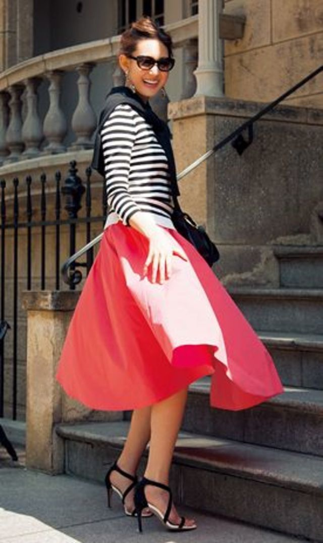 Red skirt and black & white striped long sleeve