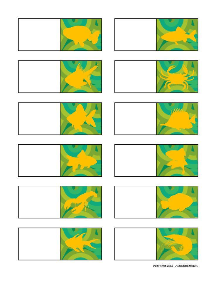 Tiles for the orange fish matching game. Find the belonging board on Autismespektrum on Pinterest. By Autismespektrum