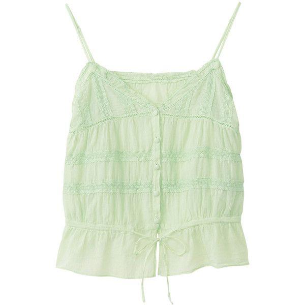 【ELLE SHOP】バナー バレット|コットンレースキャミソール|ファッション通販 エル・ショップ ($105) ❤ liked on Polyvore
