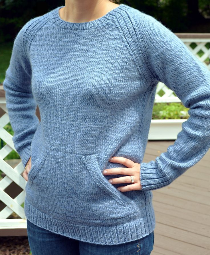 Free Knitting Pattern for Sweatshirt Sweater - Purl Soho designed this gender-neutral long-sleeved pullover inspired by classic sweatshirt style with front kangaroo pockets. Great for layering or wearing on its own. X-Small (Small, Medium, Large, X-Large). Pictured project by comblitz