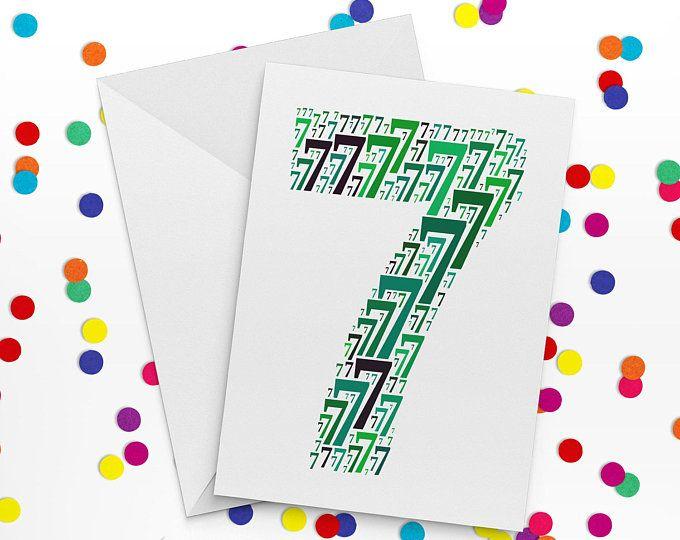 Seventh Birthday Card, Number Seven Card, Seventh Wedding Anniversary Card, 7th Birthday, Happy Birthday Card, 7th Wedding anniversary
