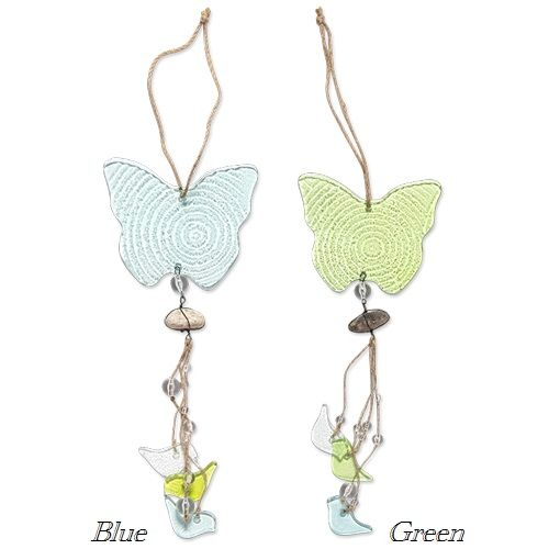 Hanging Butterfly Glass Wind Chime - Available in Blue or Green #butterfly #wind Chime