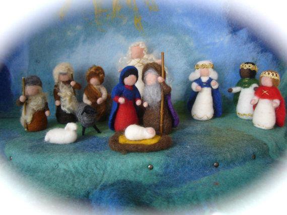 Wet  felted  Nativity Set. Waldorf .12 pieces.. $198.00, via Etsy.