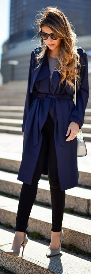 Navy Rench Coat Transitioning Outfit Idea by The Girl From Panama