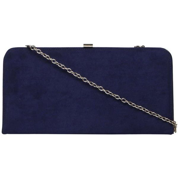 Dorothy Perkins Navy Faux Suede Box Clutch Bag (150 ILS) ❤ liked on Polyvore featuring bags, handbags, clutches, blue, navy clutches, navy purse, navy blue handbags, evening box clutch and blue handbags