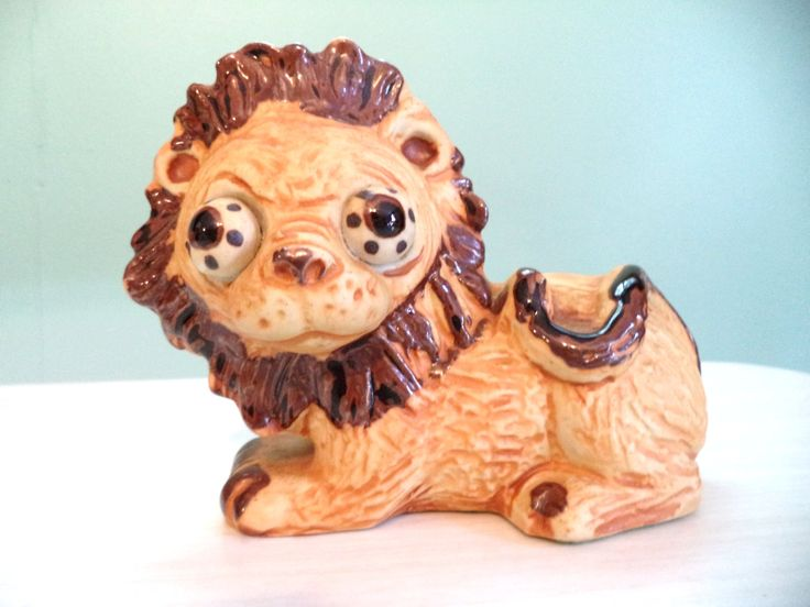 Vintage Lion Clay Big Eyed Figurine Stoneware Pottery 60s 70s Mid Century Kitsch Odd Weird Japan Collectibles by ByElleBee on Etsy