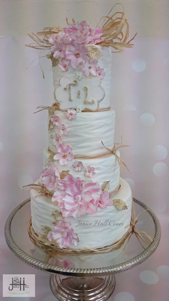 Gorgeous pink and white wedding cake by janice Hull Cakes www.janicehull.com