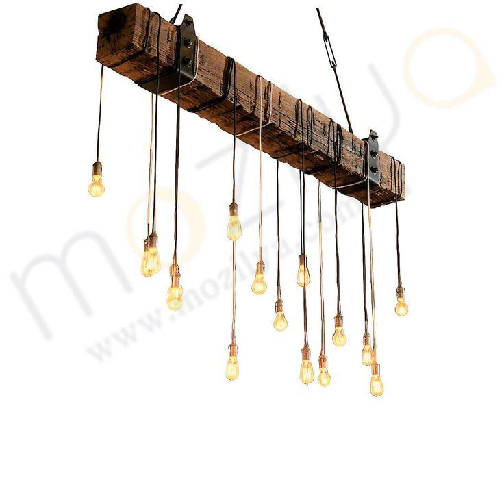 Mozilya Doğal Ahşap 15'li Lata Avize  wood wooden lamp chandelier lighting unit  www.mozilya.com