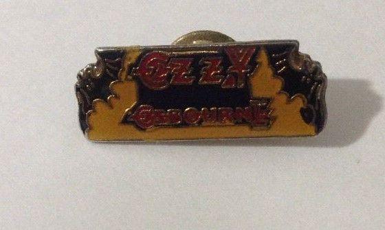 """Vintage 1980s Ozzy Osbourne Bats 1"""" Enamel Lapel Pin Heavy Metal Rock and Roll"""