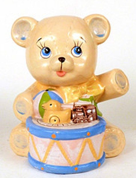 Teddy Bear with Drum and Toys Waving   Unpainted Ceramics You Paint Your Own - U Paint Ceramic Bisque by MagicalMud, $4.00