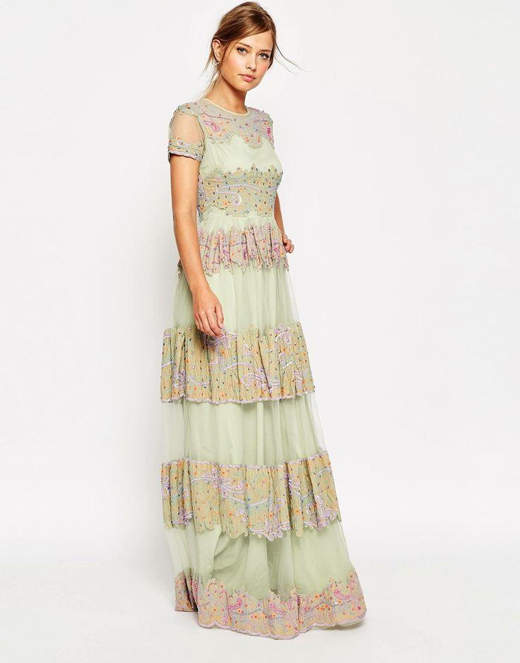 Image 1 ofASOS SALON Lace and Embroidered Panel Maxi Dress