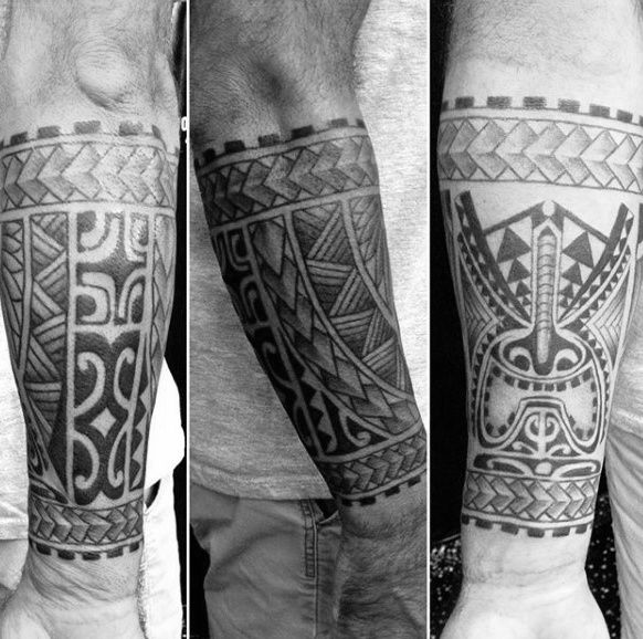 Creative Male Tribal Forearm Tattoo Design Ideas