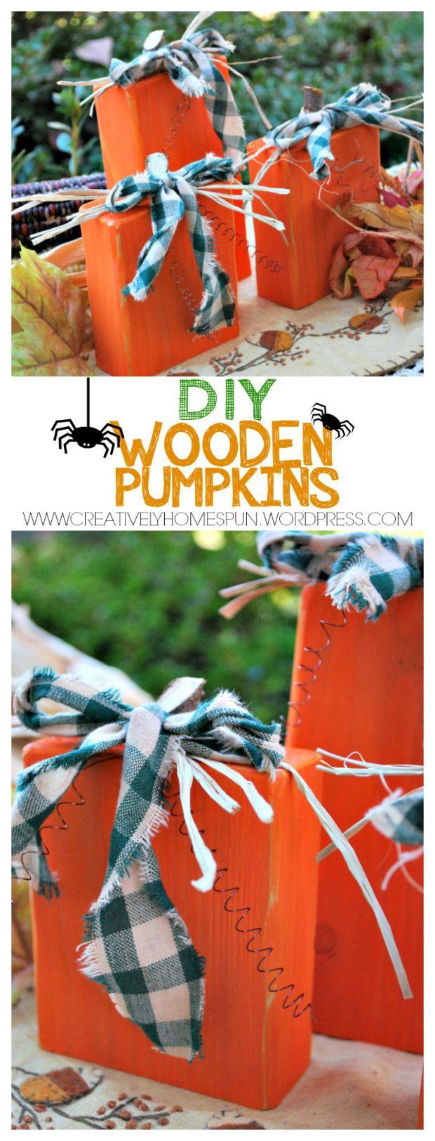 DIY WOODEN PUMPKINS #falldecor #DIY #pumpkin #easycraft