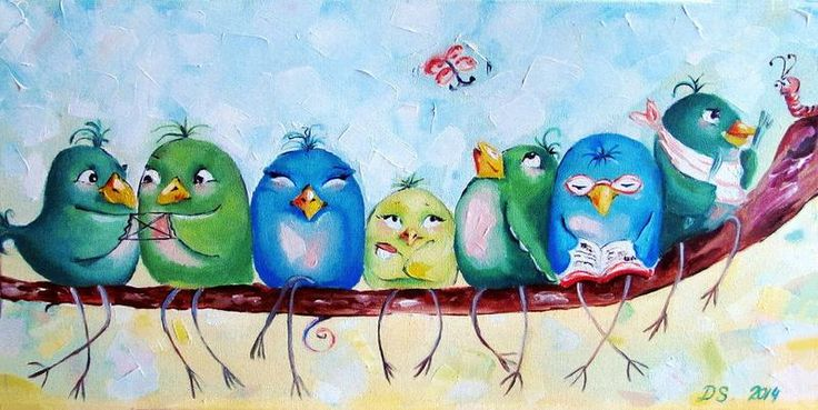 #Bird #picture #painting #oilpaint #oil #птички #масло #картина #детская