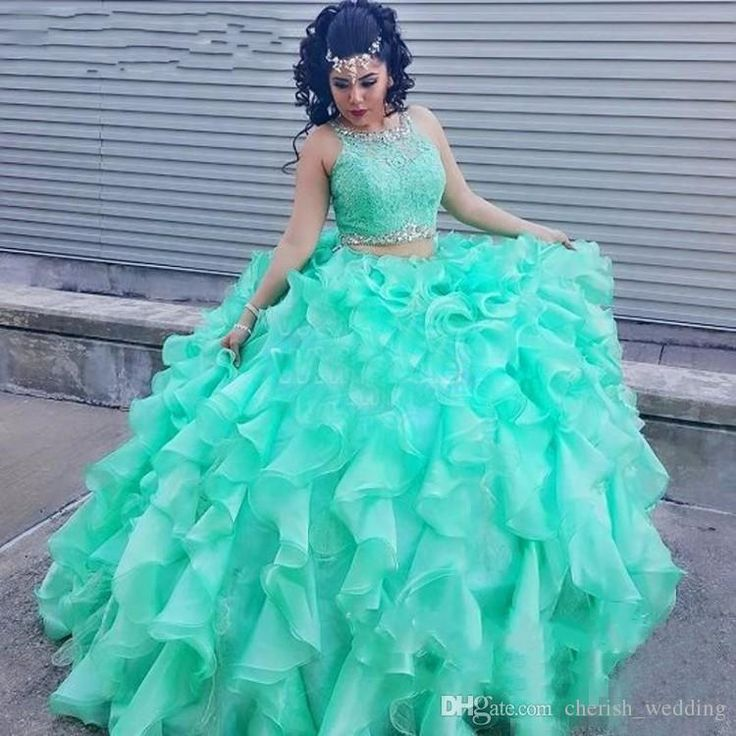 Quinceanera Dresses Two Piece 2017 Plus Size Ball Gown Prom Dresses Beaded Lace Sweet 16 Dresses Green Ruffles vestidos de quinceanera