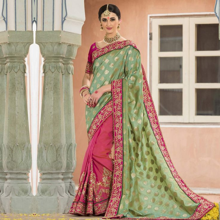 Buy Green - Pink Half & Half Saree for womens online India, Best Prices, Reviews - Peachmode
