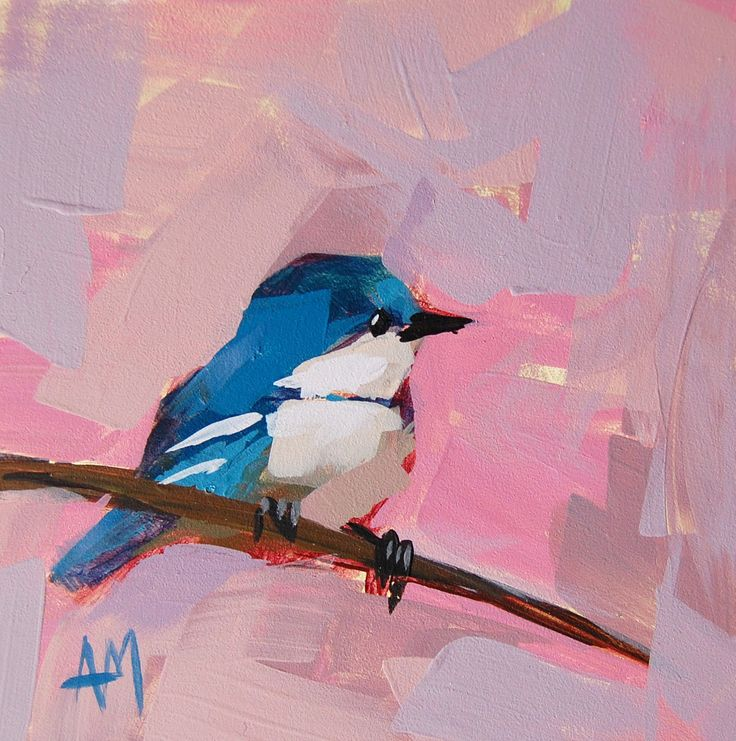 Cerulean Warbler no. 34 original painting by Angela Moulton 6 x 6 inch