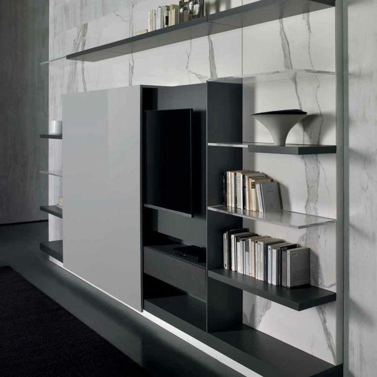cache meuble télé idée étagères salon bibliothèque