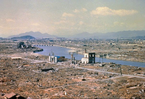 Hiroshima Aftermath: March, 1946. Eight months after the atomic bomb was dropped Hiroshima still stands in ruins.