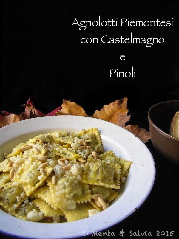 Agnolotti piemontesi con castelmegno e pinoli. Pasta stuffed with Castelmagno cheese and pine nuts.