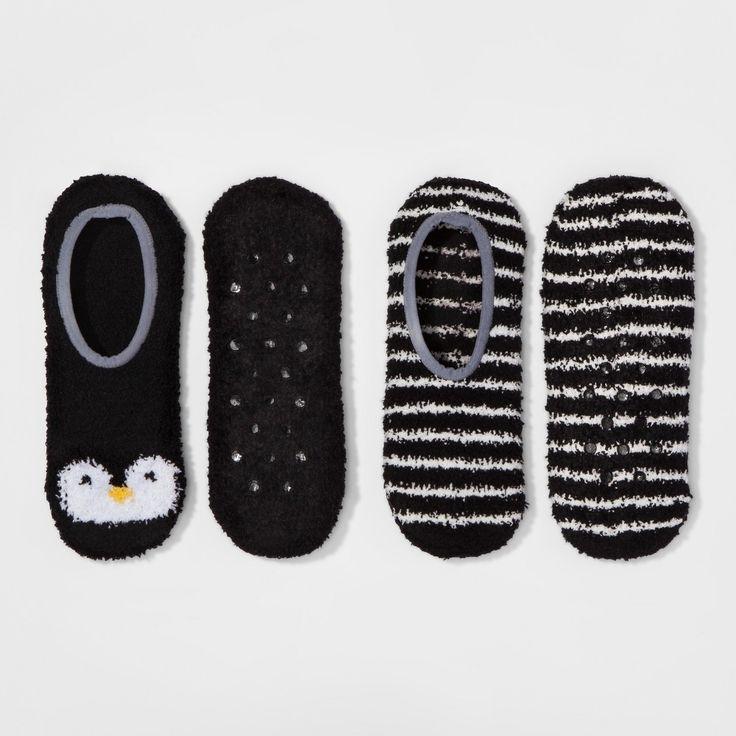 Women's 2-Pack Cozy Liner Penguin Socks - Xhilaration - Black One Size