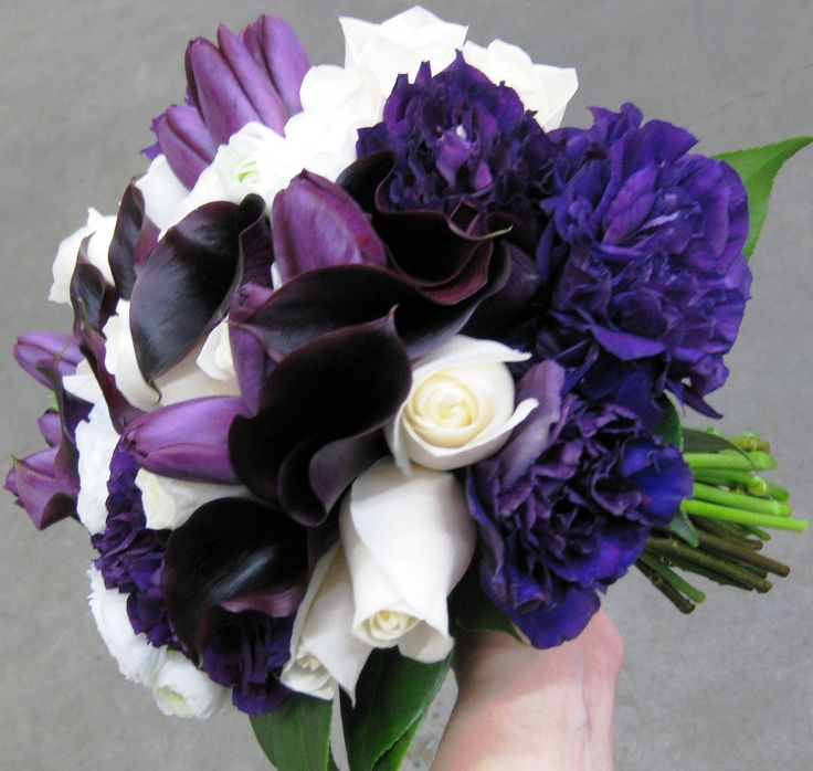 Purple Calla and Tulips with white Roses bouquet -  http://stadiumflowers.files.wordpress.com/2011/04/purple-lisianthus-and-ivory-rose-bouquet.jpg