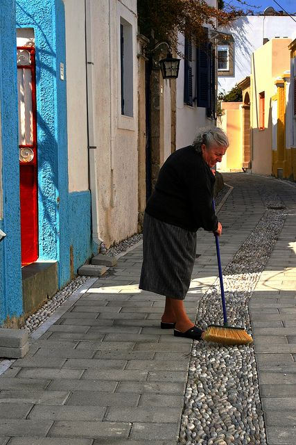 Serious cleaning...Koskinou, Rodos island, Dodecanese, Greece