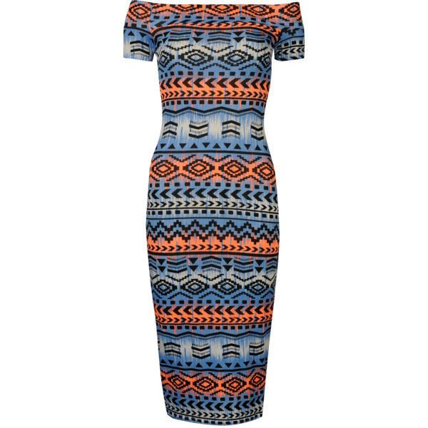 Influence Women's Aztec Bardot Midi Jersey Dress ($26) ❤ liked on Polyvore featuring dresses, blue, short sleeve dress, midi dress, viscose dresses, blue jersey and blue midi dress