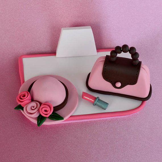 Pink Purse, Hat & Lipstick Polymer Clay Business Card Holder