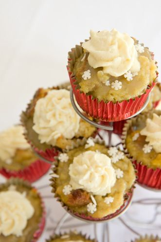 Leftover Holiday Eggnog and Breadpudding Cupcakes. I'm pinning this for @Milia Mahfoud. Your two Holiday faves!
