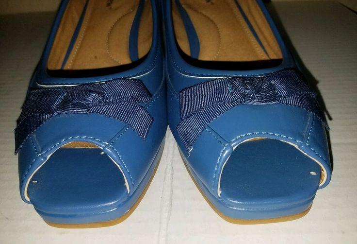 Comfort View Woman's  Sexy Peep Toe with Bow Kobalt Blue Heel Shoes SZ 9.5 EXC #Comfortview #HeelPumps #ANY