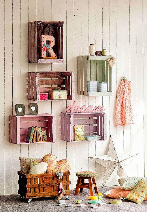 Muebles con cajas de madera recicladas cajones pinterest for Muebles con cajas de madera