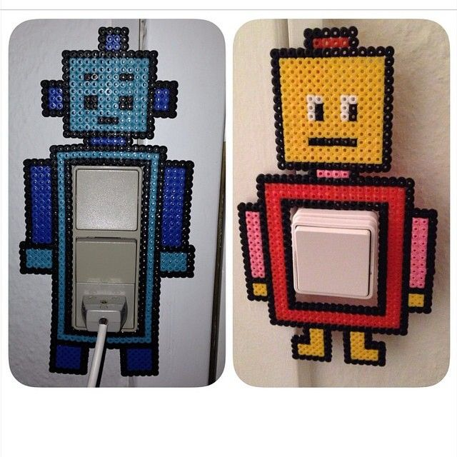 Robot light switch covers perler beads by krea83