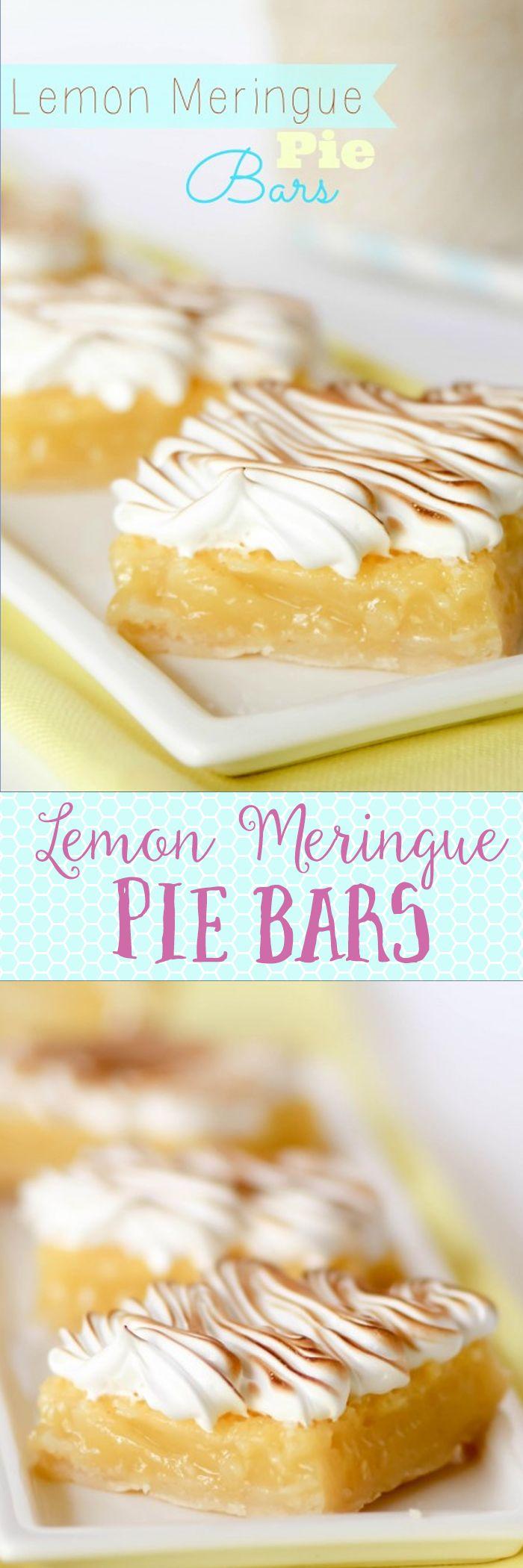 Lemon Meringue Pie Bars - a great alternative to pie. Handheld, easier to eat, etc. These always get rave reviews.