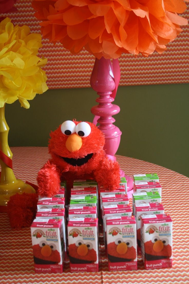 Elmo juice boxes are perfect for a kids birthday party.  See more Elmo birthday party ideas at www.one-stop-party-ideas.com