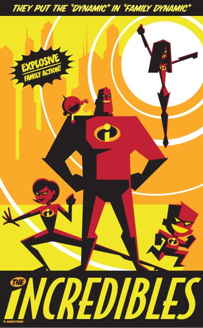 The Incredibles  One of my favorite Pixar films. I love the world of the mundane and fantastic that they created for this film.