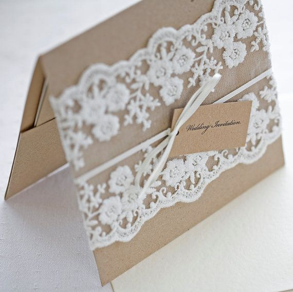 Lace wedding invitations - Rustic wedding invitations - pocketfold invites recycled kraft card. £6.00, via Etsy.