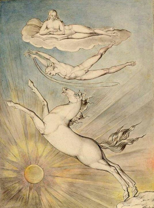 Fiery Pegasus by William Blake (English 1757 – 1827) Links to mythology? showing a story.