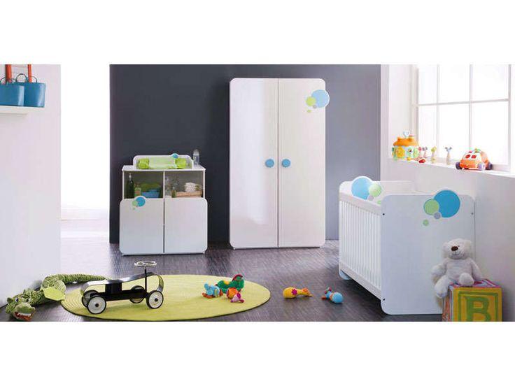 Armoire 2 portes avec 1 penderie - 2 tablettes LAGON coloris blanc velours - Vente de Armoire Enfant - Conforama